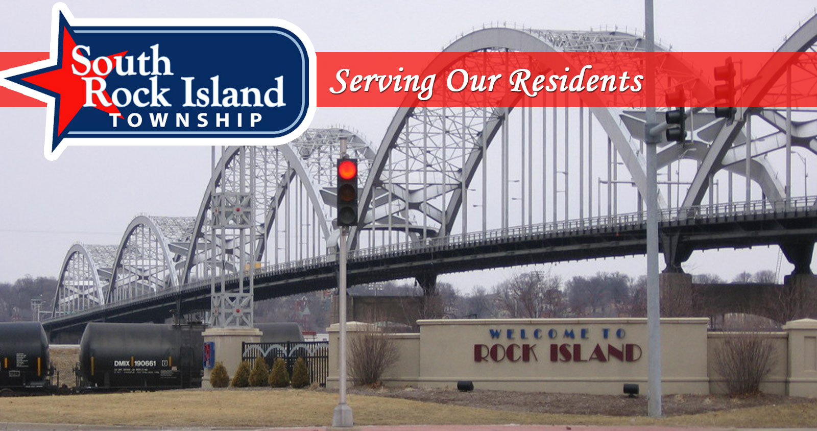 Large picture of Centennial bridge with South Rock Island Towship Logo and the phrase Serving Our Residents at the top
